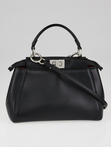 Fendi Black Nappa Leather Mini Peekaboo Satchel Bag