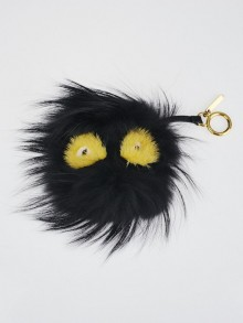 Fendi Black Fox Fur Ball Monster Bag Bugs Key Chain and Bag Charm 7AR462