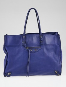 Balenciaga Blue Calfskin Leather Papier A4 Tote Bag