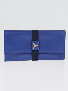 Prada Blue Saffiano Leather Clutch Bag 1M1301