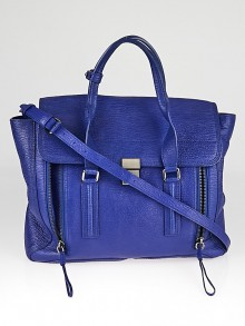 3.1 Phillip Lim Cobalt Shark Embossed Leather Large Pashli Shoulder Bag