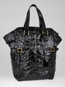 Yves Saint Laurent Black Croc-Print Embossed Leather Large Downtown Bag