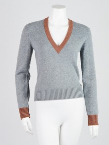 Chanel Blue/Brown Cashmere V-Neck Sweater Size 2/34