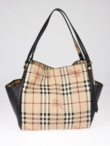 Burberry Black Leather Haymarket Check Coated Canvas Canterbury Tote Bag