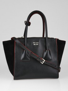 Prada Black Glace Calfskin Leather Twin Pocket Double Handle Small Tote Bag 1BA025