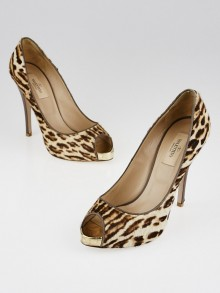 Valentino Animal Print Pony Hair Peep-Toe Pumps Size 7/37.5