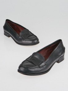 Prada Black Leather Penny Loafers Size 7/37.5
