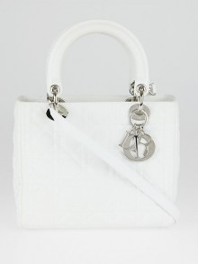 Christian Dior White Cannage Quilted Leather Medium Lady Dior Bag
