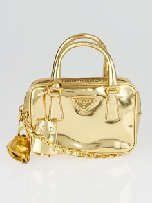 Prada Gold Leather Mini Crossbody Bag