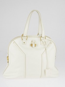 Yves Saint Laurent Ivory Leather Oversized Muse Bag