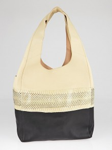 Celine Beige/Black Leather/Snakeskin Long Strap Cabas Tote Bag