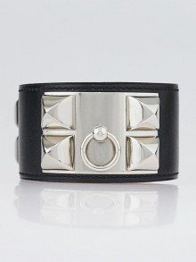 Hermes Black Swift Leather Palladium Plated Collier de Chien Bracelet Size L