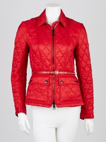 Burberry Britt Red Quilted Nylon Belted Jacket Size XS