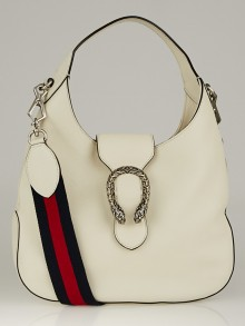 Gucci White Leather Dionysus Medium Hobo Bag