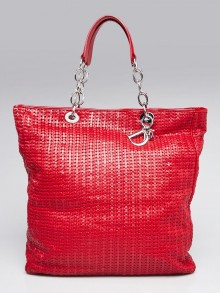 Christian Dior Red Woven Lambskin Leather Dior Soft Large Tote Bag
