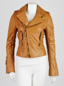 Balenciaga Tan Lambskin Leather Classic Biker Jacket Size 8/40