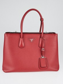 Prada Red Saffiano Lux Leather Large Twin Tote Bag