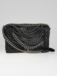 Chanel Black Leather Boy Enchained Medium Flap Bag