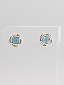 David Yurman 7mm Blue Topaz and Sterling Silver Infinity Stud Earrings