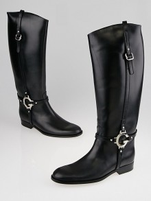Gucci Black Smooth Leather Tall Flat Boots