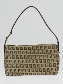 Fendi Brown Zucchino Print Canvas Pochette Bag 8BR444