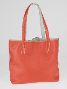 Hermes 36cm Rouge Vermillion and Pearl Grey Sikkim Leather Double Sens Bag