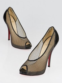 Christian Louboutin Black Fishnet/Patent Leather Fetilo 120 Pumps Size 5.5/36
