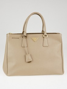 Prada Argilla Saffiano Lux Leather Double Zip Large Tote Bag BN1786