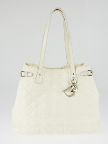 Christian Dior Ivory Cannage Quilted Coated Canvas Medium Panarea Tote Bag