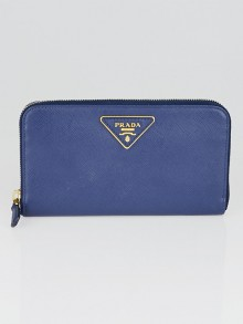 Prada Bluette Saffiano Metal Leather Zip Wallet 1M0506