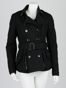 Burberry Black Wool/Nylon Belted Peplum Pea Coat Size 6