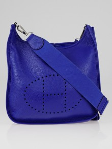 Hermes Electric Blue Clemence Leather Evelyne III PM Bag