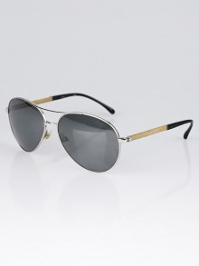 Chanel Silvertone Tinted CC Aviator Sunglasses - 4185