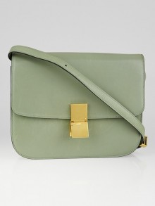 Celine Green Calf Leather Medium Classic Box Flap Bag