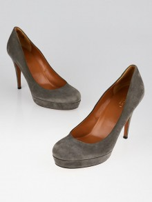 Gucci Grey Suede Platform Pumps Size 8.5/39