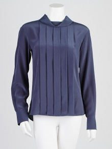 Chanel Blue Silk Pleated Front Blouse Size 2/34