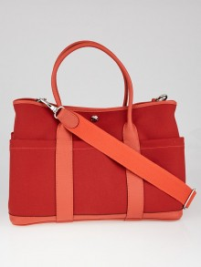 Hermes Rouge Tomate Canvas and Leather Garden Party 36 Tote Bag w/ Strap