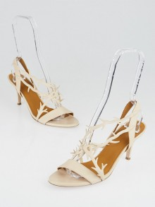 Balenciaga Beige Leather Slingback Sandals Size 8.5/39