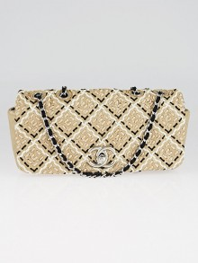Chanel Beige Patent Leather Weave Shoulder Flap Bag