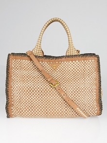 Prada Brown/Tan/Beige Woven Goatskin Leather Madras Satchel Bag