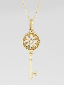 Tiffany & Co. 18k Yellow Gold and Diamond Tiffany Keys Daisy Nature Small Key Pendant Necklace