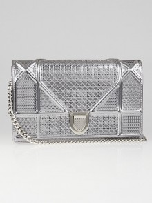 Christian Dior Metallic Silver Perforated Leather Diorama Wallet on Chain Bag