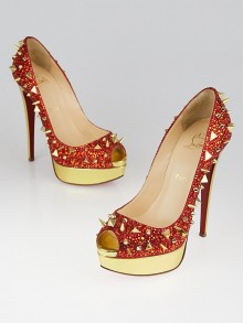 Christian Louboutin Red/Gold Crystal Spikes Very Mix Pot Pourri 150 Peep-Toe Pumps Size 7/37.5