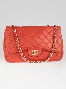 Chanel Red Quilted Washed Lambskin Leather Classic Jumbo Single Flap Bag