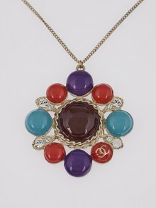 Chanel Multicolor Enamel and Crystal CC Pendant Necklace