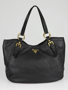Prada Black Leather Large Hobo Bag