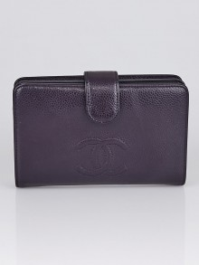 Chanel Purple Caviar Leather French Purse Wallet