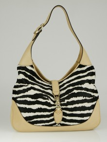 Gucci Tiger Stripe Pony Hair Medium Jackie Hobo Bag