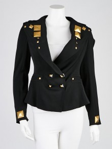 Givenchy Black Wool Gold Studded Jacket Size 2/36