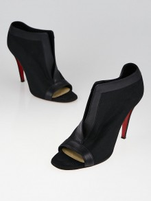 Christian Louboutin Black Canvas and Leather Chaotic 100 Peep Toe Ankle Boots Size 8.5/39